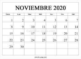 Calendario Noviembre 2020 Para Imprimir Noviembre 2020 Calendario Calendario 2020 En Español Para