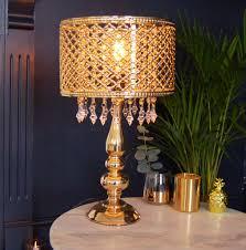 gold table moroccan lamp chandelier crystal bedside