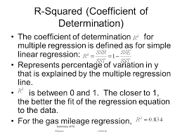 25 r squared coefficient of determination the coefficient of determination for multiple regression is defined as for simple linear regression represents
