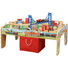 Train Set Table With Drawers 50 Piece Train Set With 2 In 1 Activity Table Walmartcom