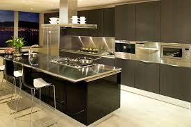 Modern Kitchen Design Ideas Stainless Steel Countertops Black Cabinets ...