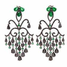 georgian style emerald black diamond cascading chandelier earrings