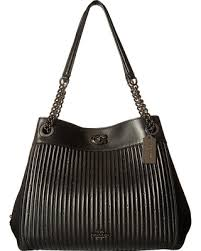COACH Turnlock Edie Shoulder Bag With Quilting (DK Black) Shoulder Handbags