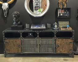 industrial media furniture. metal and wood media console vintage industrial hifi record player retro furniture tv steel c