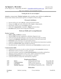 Medical Assistant Resume Objective Skills Cool Medical Resume