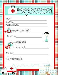 Babysitter Emergency Contact Sheet Babysitter Emergency Contact Form Template Sheet Number Phone