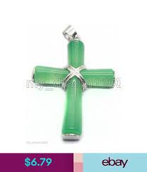 natural green jade cross white gold