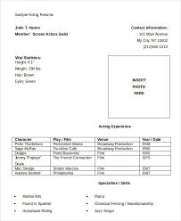 Acting Resume Template Download Download Actor Or Actress Resume Free Actor Resume