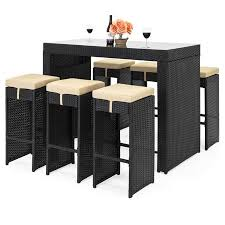 outdoor dining patio furniture.  Patio Best Choice Products 7Piece Outdoor Rattan Wicker Bar Dining Patio  Furniture Set W With E