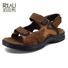 POLALI American Made High Quality <b>Men Sandals</b> Genuine <b>Leather</b> ...