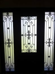 custom doors fiberglass single front door iron art glass design with 2 iron art