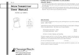 Design Tech International Springfield Va Designtech Tx3b Security R C Transmitter User Manual Extra