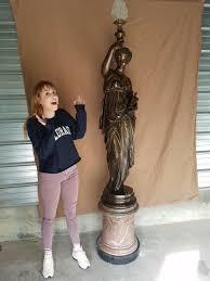 Woman Sculpture Light Rare 90 Original 1800s Mathurin Moreau French Bronze