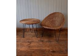 vintage terrance conran tub chair table bamboo cane wicker rattan mid century photo