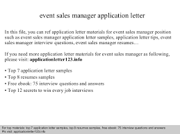 Sample Cover Letter Sales Manager Event Sales Manager Application Letter