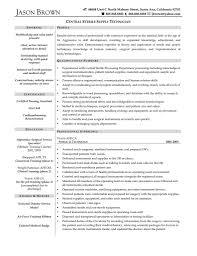 Resume Template Sterile Processing Technician Resume Sample