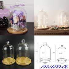 small large diy glass display cloche bell jar wooden base wedding decorations