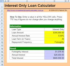 Interest Only Loan Calculation Free Interest Only Loan Calculator