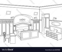 Image Rendering Vectorstock Bedroom Furniture Room Interior Outline Sketch Vector Image