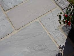 grouting exterior pavers. dove grey sandstone patio paving - calibrated grouting exterior pavers