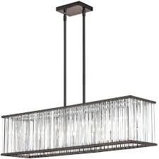 7 light horizontal crystal chandelier in vintage oiled brushed bronze rectangular chandeliers
