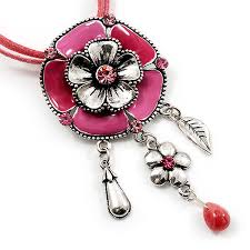 details about bright pink enamel flower pendant with faux suede cord necklace silver tone