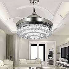 ceiling fan for dining room. COLORLED 3-Circle Diamond Crystal Ceiling Fans With Lights Retractable 4-Blade Remote Control Fan For Dining Room P