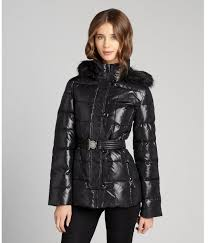 dkny black quilted puffer belted faux fur trim hooded coat