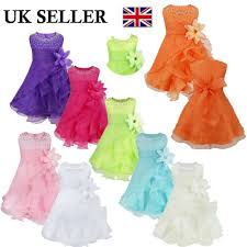 Details About Uk Infant Baby Wedding Flower Girl Dress Children Pageant Party Princess Dresses
