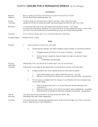 best photos of persuasive speech outline sample persuasive  college persuasive speech outline example