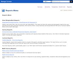 Surveys Formats Reports Menu