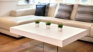 large modern white oak coffee table funky tempered clear glass legs metal round