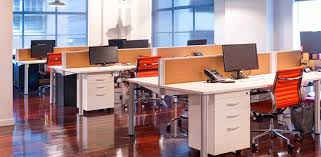 orange office furniture. Office Desk Pod 4-person With Low Screen - Cork Infill Orange Furniture