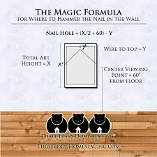 how to hang art and how to figure out exactly where to put the nail in the wall  on wall art hanging height with best height to hang a picture three bears home staging