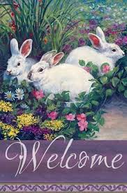 welcome easter bunny house flag h00017