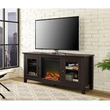 walker edison furniture company 58 in wood a tv stand console with fireplace in espresso hd58fp4dwes the home depot
