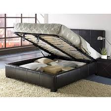 Upholstered King Size Lucca Storage Bed Chocolate Leather