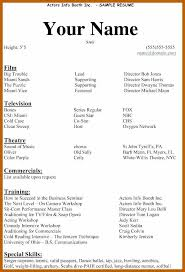 Resume Examples For Actors 3 4 Acting Resume Examples Resumesheets