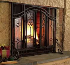 tempered glass fireplace screen doors black mesh steel fire heat no sparks large