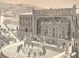Театр Диониса Википедия Театр Диониса в Афинах в римское время реконструкция