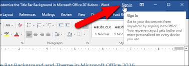 office 360 login how to customize the title bar theme in microsoft office 2016
