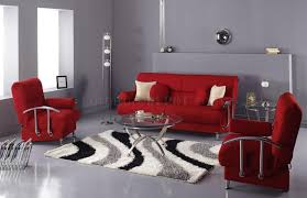 interior design 3 piece red living room furniture set with round glass coffee table in