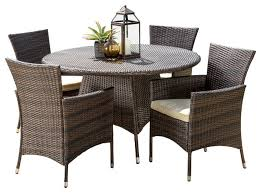 5 piece outdoor dining set. Clementine Outdoor Multibrown Wicker Round Dining 5-Piece Set 5 Piece I
