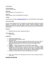 Assistant Property Manager Cover Letter No Experience Job And
