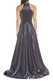 Details About La Femme Beaded Halter Neck A Line Gown Sz 4 438 Platinum