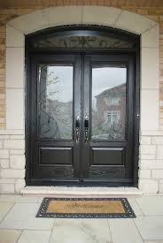 wood grain fiberglass doors iron art glass design front door with nice matching arch transom