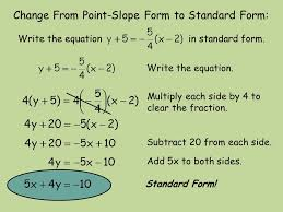 change from point slope form to standard form write the equation in standard form