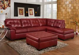 simmons soho cardinal showtime breathable leather chaise sofa sectional and tail ottoman