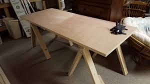 My first DIY project: A Sawhorse style Door Desk I made with my dad