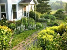 Small Picture Easy Landscaping Is Paired With Annuals In This Colouful But Low